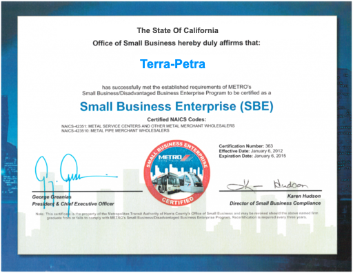 Terra-Petra Recognized as Small Business Enterprise